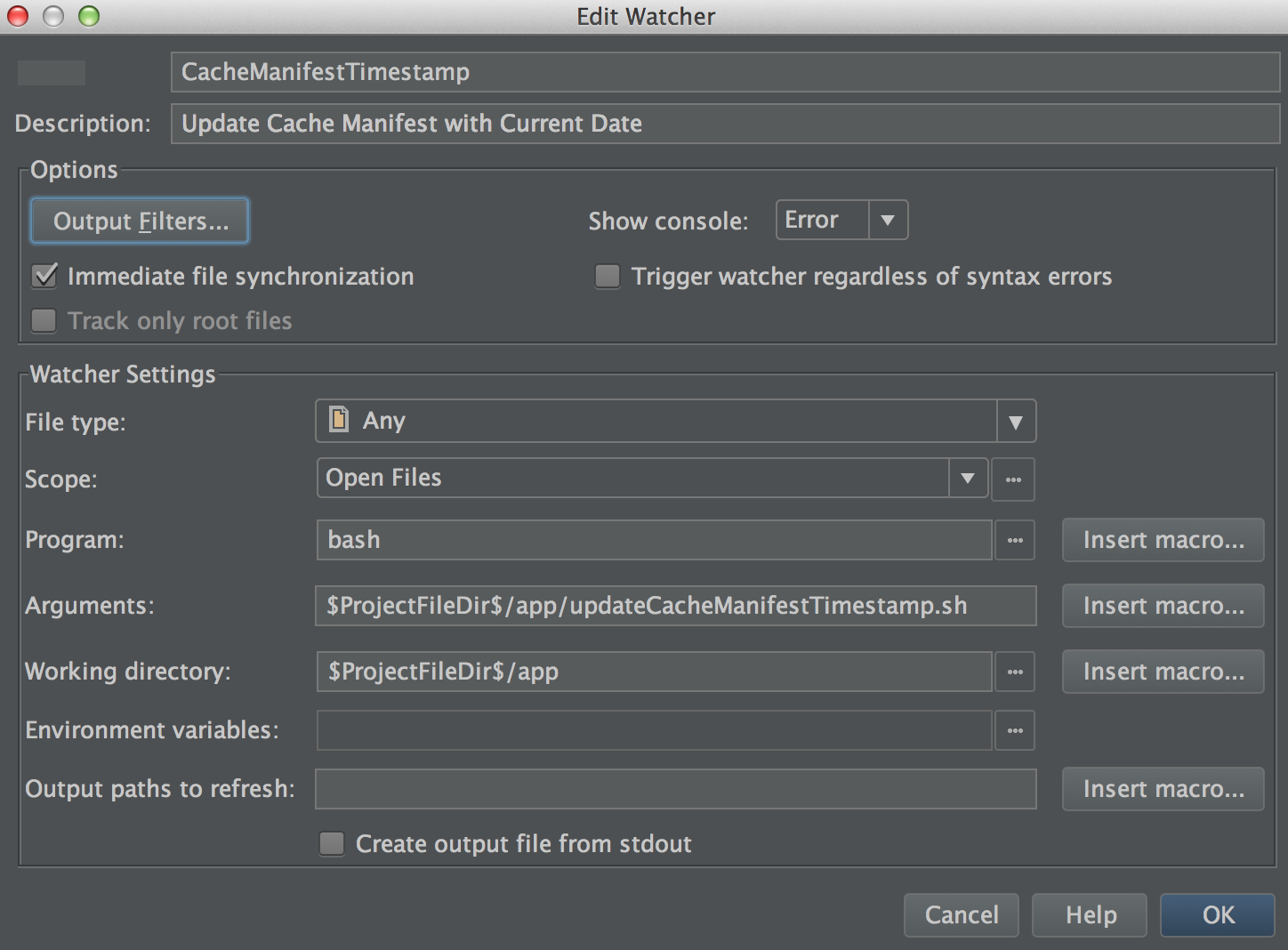 Automation with Webstorm File Watchers